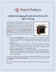 A-Guide-To-Buying-The-Best-Transformer-For-Your-Industry.pdf