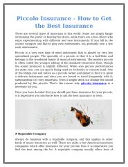 Piccolo Insurance – How To Get The Best Insurance.doc